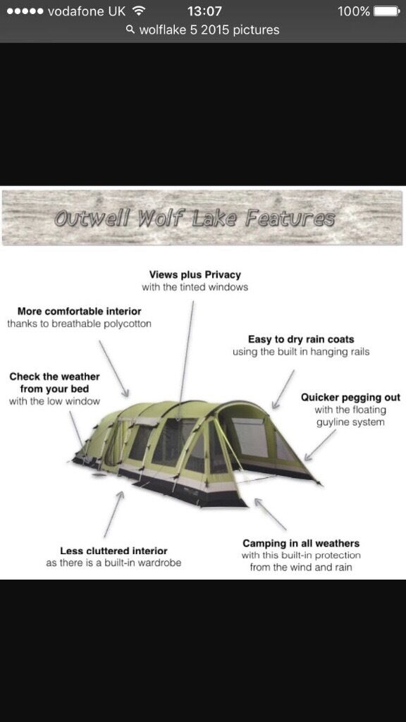 Outwell wolf lake 5 polycotton tent with carpet and footprint. Carterton ...