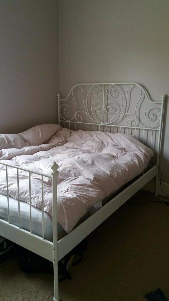 Ikea Leirvik Bed Frame White Luroy Standard Double And Slats In