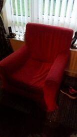 Red IKEA armchair