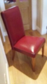 Leather dining chairs, set of 6