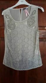Lipsy UK size 14 silver top with pearl and sequin detail