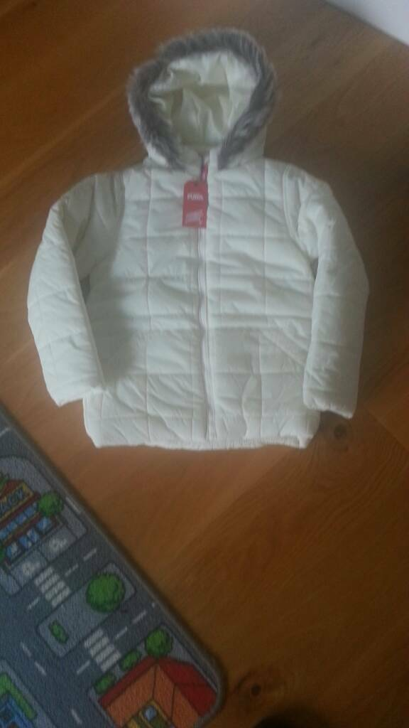 Girls Winter White Warm Jacket - Coat By Puffa 8-9 yrs Priced £44.99 Brand New Tagged.
