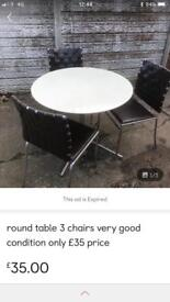 Used condition round table + 3 chairs only £35 price