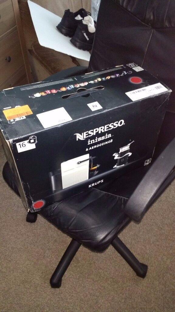 New, unused Red Nespresso Inissia (includes Aeroccino milk frother ...