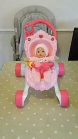Fisher Price musical princess doll stroller & Doll