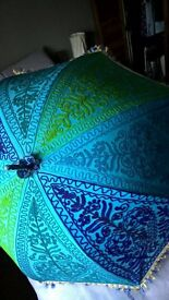 Beautiful embroidered fabric parasol