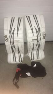 Pair of white-and-grey brion goalie pads