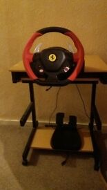 thrustmaster ferrari 458 racing wheel with pedals and original box for xbox one