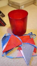 Red Candle holder (with matching bunting)