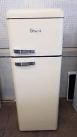 Retro Swan Fridge Freezer 70/30 Split Fr/Fz Cream Finish Very Good Condition