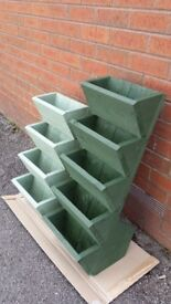 NEW 4 TIER POCKET PLANTERS, TREATED WOODEN FLOWER PLANTERS, MANY COLOURS, QUALITY HANDMADE