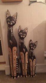 Set of 3 decorative cats