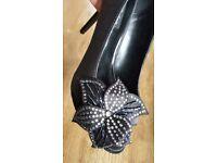 Black peep toe shoes new