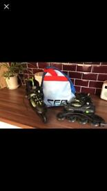 size adjustable roller blades. size 1-3.5. nearly new. with carry bag.