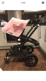 Bugaboo Chameleon with black chassis and soft pink