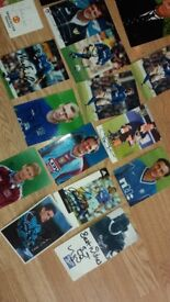 Football signed photos and cards