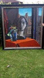Large oil on canvas plus heavy pine wood frame ( York )