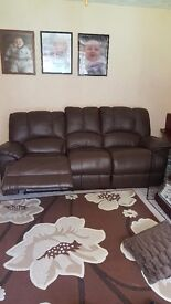 Brown leather recliner sofa 3 and 2