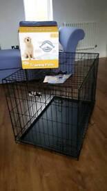 RAC dog crate, puppy training pads and Halti head collar