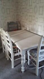 6 seater table with 4 chairs shabby chic project