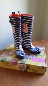 Joules Adjustable Printed Floral Wellies Size 5 Women