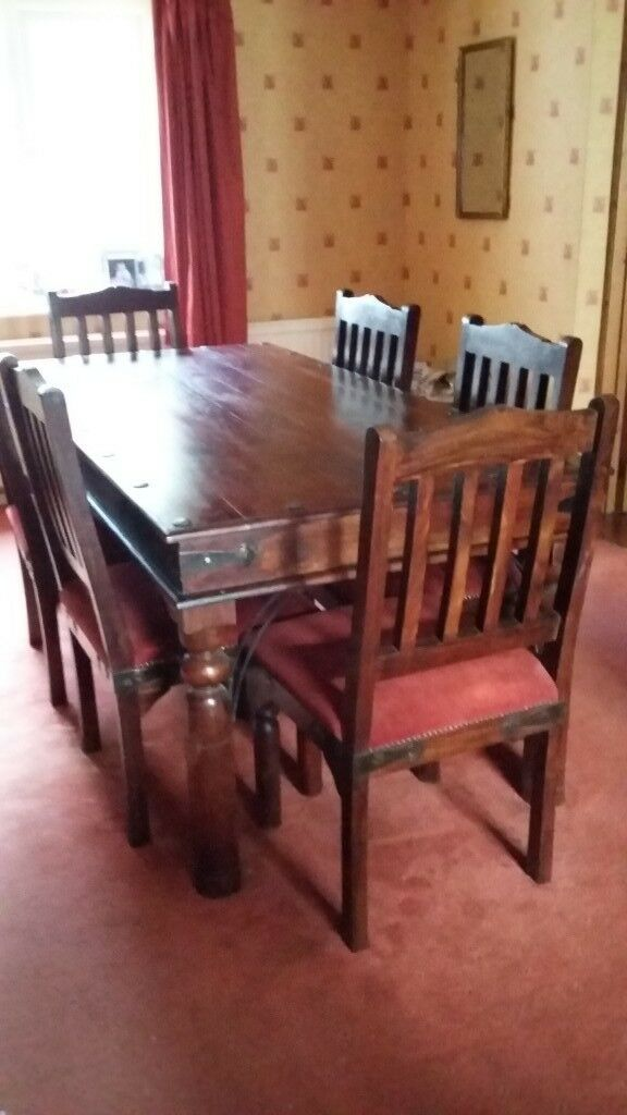 Indian Style 6 Seater Wooden Dining Table And Six Padded Wooden
