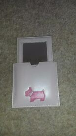 Immaculate pink leather compact mirror