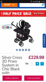Silver cross 3d buggy and car seat