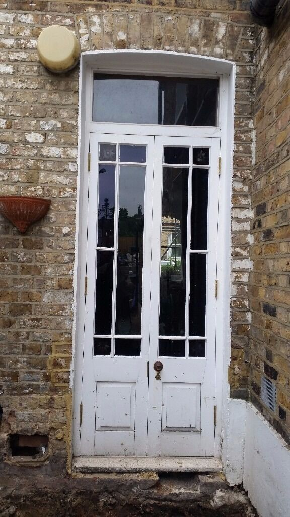 reclaimed pair of external stained glass french doors and
