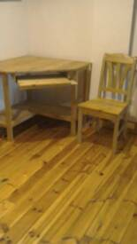 Solid pine computer desk and chair
