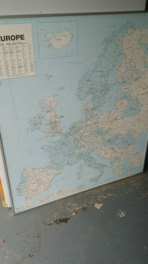 Very Large Europe Office Map On Clear Board 15 In Stoke On Trent