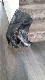 Ladies Leather Stiletto Black Boots - Size 37