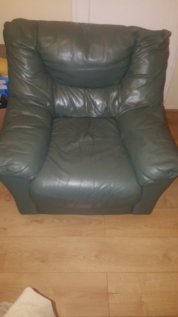 Green Leather Armchair x1 £15