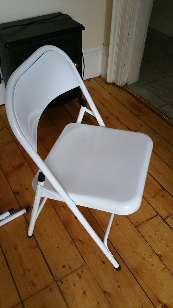 Chairs 2 White Steel Folding Chairs Habitat Homebase As