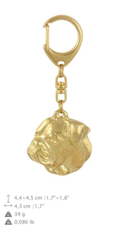 American Bulldog - gold plated keyring with image of a dog, quality, Art Dog USA