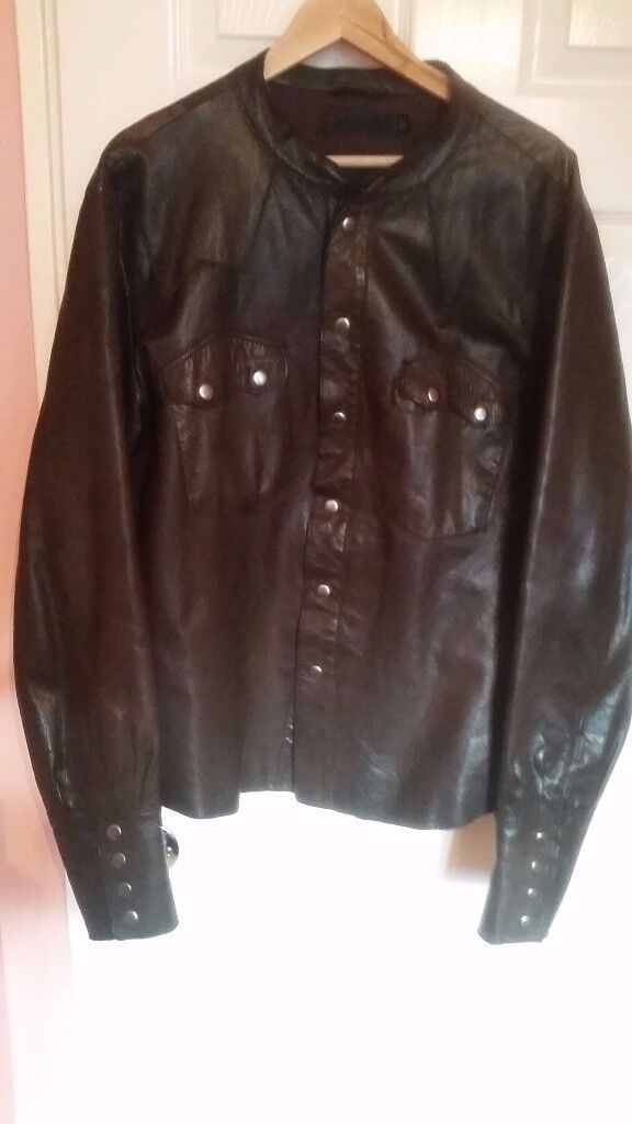 ALLSAINTS shirt Jacket in leather as new brown with clips paid 300£ only 50£!!! size XL