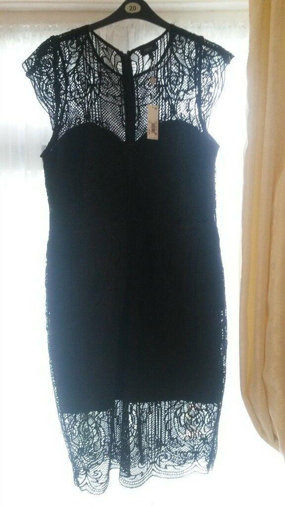 Brand New Next Black Lace Dress Size 20 Smart Party Evening