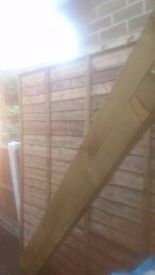 two 6ft x6ft heavy duty fence panels,posts and 5 bags of post mix
