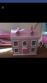 Wooden Dolls House complete with Dolls and Furniture