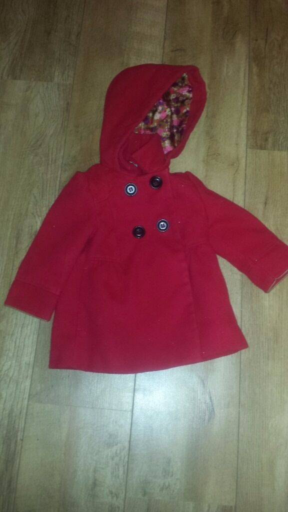 Girls next red duffle coat size 12-18 months