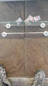 Bathroom shelf and towel rail