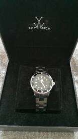 Black and silver 'TOY' designer watch