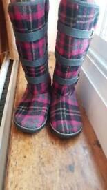 'Sugar' Tartan Boots size 3
