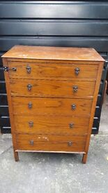 Antique 1920/30s Tall 5 Drawer Oak Chest of Drawers - TLC required ! Free Local Delivery
