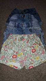 4 pairs of girls next shorts age 2 to 3