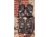 Two pairs of motorcycle gloves