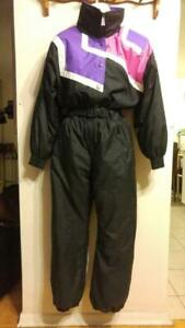 SUMMER SKI PARTY M 8 10 Vintage 80s Ladies Ski Suit One-Piece Wild Colors Pink Purple Black Medium 36b