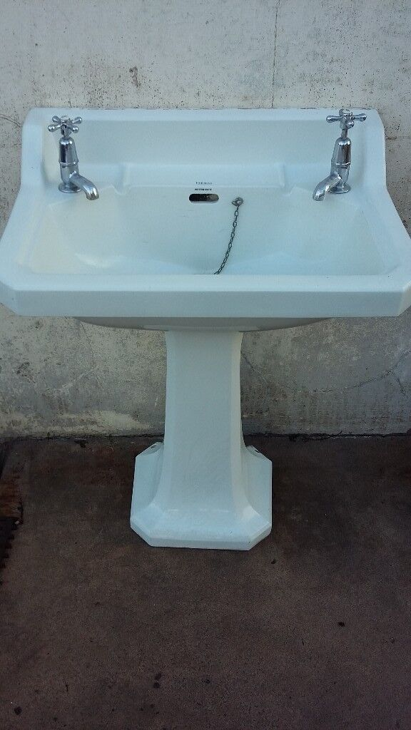 SOLD SOLD ANTIQUE WASH BASIN WITH PEDESTAL WITH TAPS ARCHITECTURAL ...