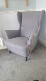 IKEA STRANDMON Wing chair Nordvalla dark grey very good condition