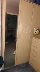 Triple mirror wardrobe, 2 xbedside table, 2 x chest of draws and desk set